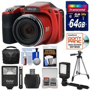 Minolta MN35Z 1080p 35x Zoom Wi-Fi Digital Camera (Red) with 64GB Card +  Case + Flash + Video Light + Tripod + Cleaning Kit