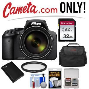 Nikon Coolpix P900 Wi-Fi 83x Zoom Digital Camera - Factory Refurbished with  32GB Card + Battery + Case + Kit