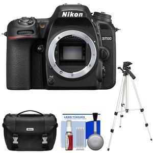 Nikon D7500 Wi-Fi 4K Digital SLR Camera Body - Factory Refurbished with  Case + Tripod + Kit