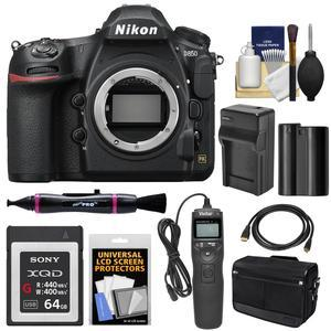 Nikon D850 Wi-Fi 4K Digital SLR Camera Body with 64GB XQD Card + Battery &  Charger + Case + Remote + Kit