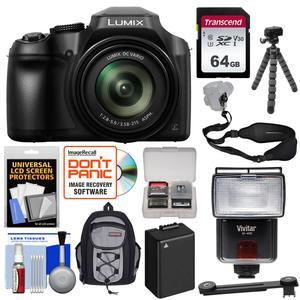 Panasonic Lumix DC-FZ80 4K Wi-Fi Digital Camera with 64GB Card + Backpack +  Flash + Battery + Tripod + Strap + Kit