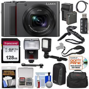 Panasonic Lumix DC-ZS200 4K Wi-Fi Digital Camera (Silver) with 128GB Card +  Battery & Charger + 2 Cases + Flash + Video Light + Tripod/Grip + Kit