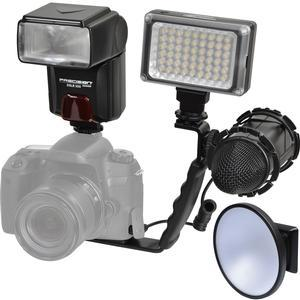 Precision Design DSLR350 High Power Auto Flash with LED Video Light +  Diffuser Dish + Microphone + Right Angle Bracket Kit