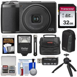 Ricoh GR III APS-C Wi-Fi Digital Camera with 32GB Card + 2 Cases + Tripod +  Flash + Kit