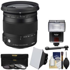 Sigma 17-70mm f/2 8-4 Contemporary DC Macro OS HSM Zoom Lens (for Canon EOS  Cameras) with Flash + Soft Box & Diffuser + 3 UV/CPL/ND8 Filters + Kit