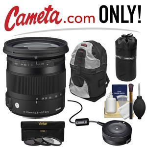 Sigma 17-70mm f/2 8-4 Contemporary DC Macro OS HSM Zoom Lens (for Nikon  Cameras) with USB Dock + Backpack + 3 UV/CPL/ND8 Filters + Kit