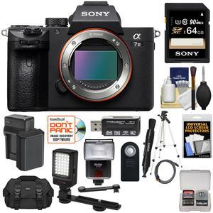 Sony Alpha A7 III 4K Digital Camera Body with 64GB Card + Battery & Charger  + Case + Tripod + Flash + LED Light + Remote + Kit