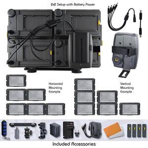 Vidpro 4 Panel Z 96k Pro Photo Video Led Light Kit W Battery