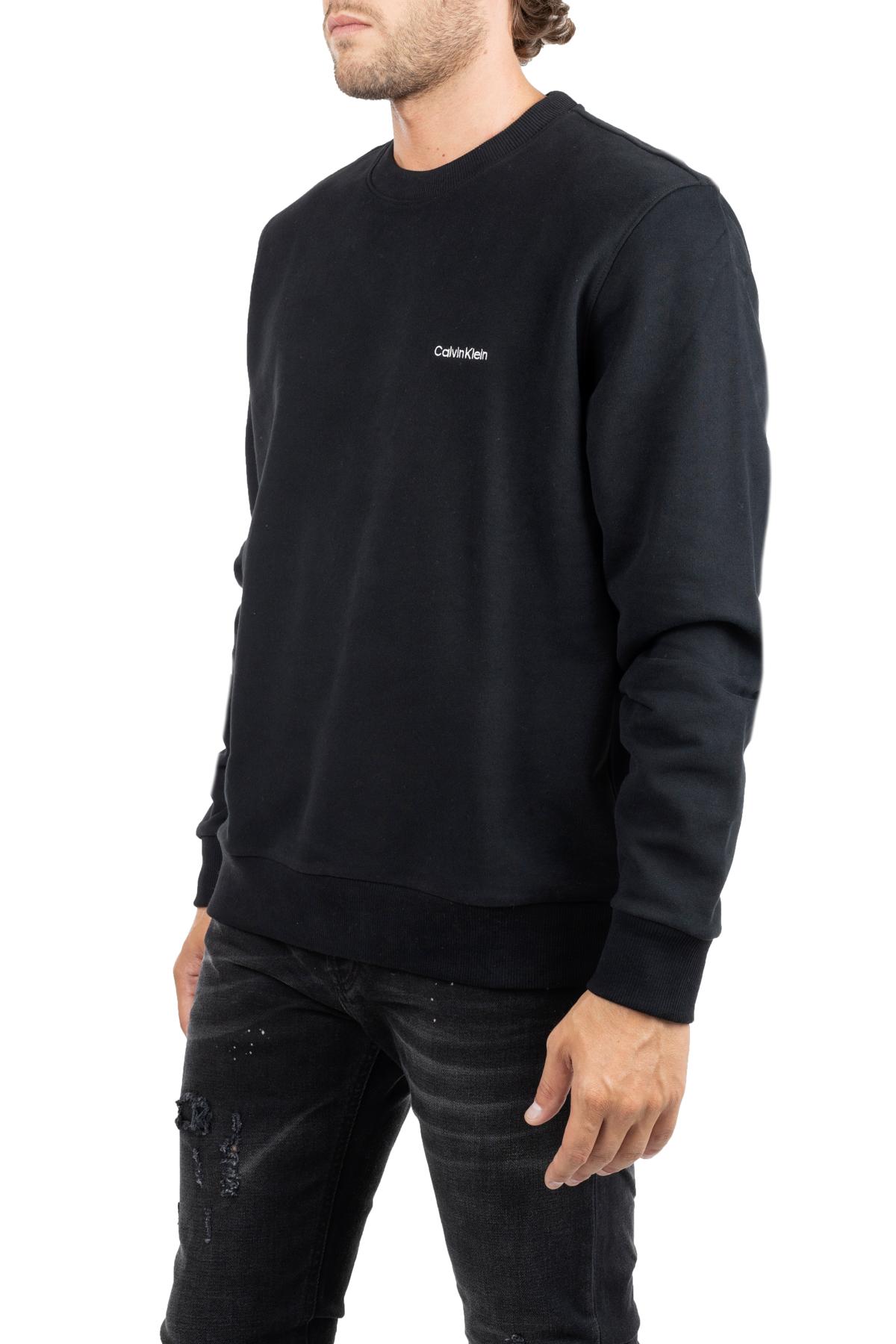 BLACK COTTON SWEATSHIRT WITH FRONT LOGO EMBROIDERY CALVIN KLEIN   Sweatshirts   K10K103088002