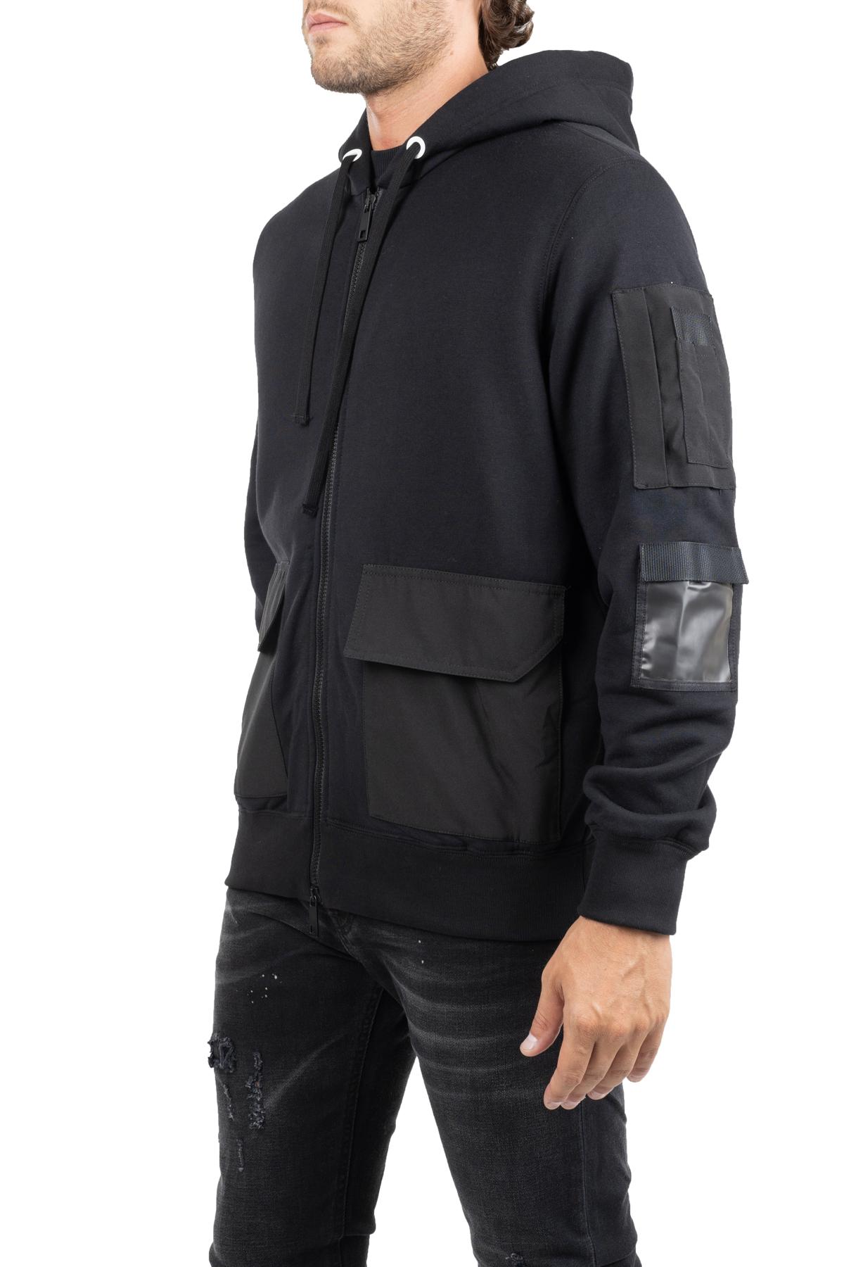 BLACK COTTON SWEATSHIRT WITH WATERPROOF FABRIC DETAILS PAOLO PECORA | Sweatshirts | E06141099000