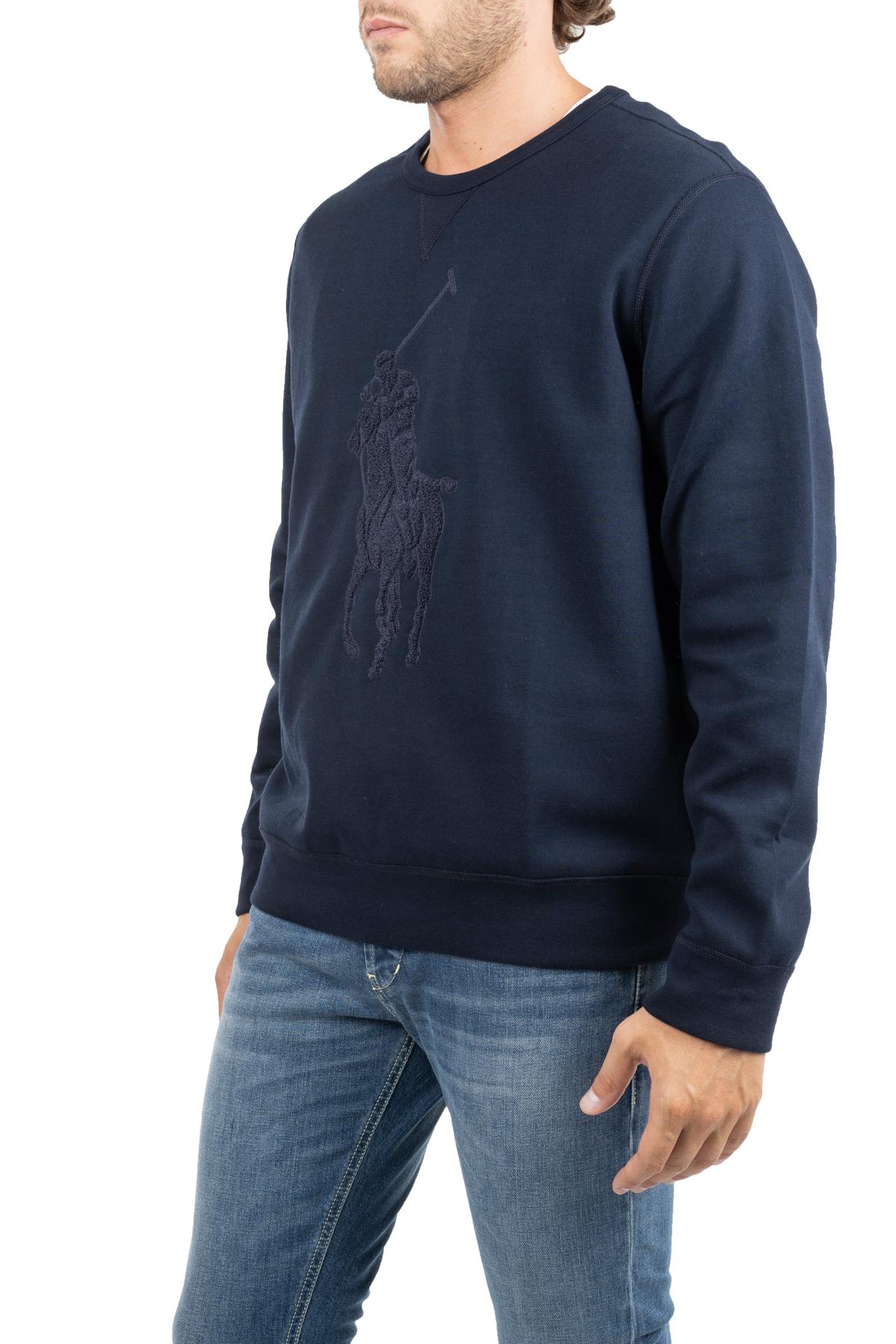 BLUE SWEATSHIRT WITH FRONT LOGO EMBROIDERY POLO RALPH LAUREN   Sweatshirts   710766862009