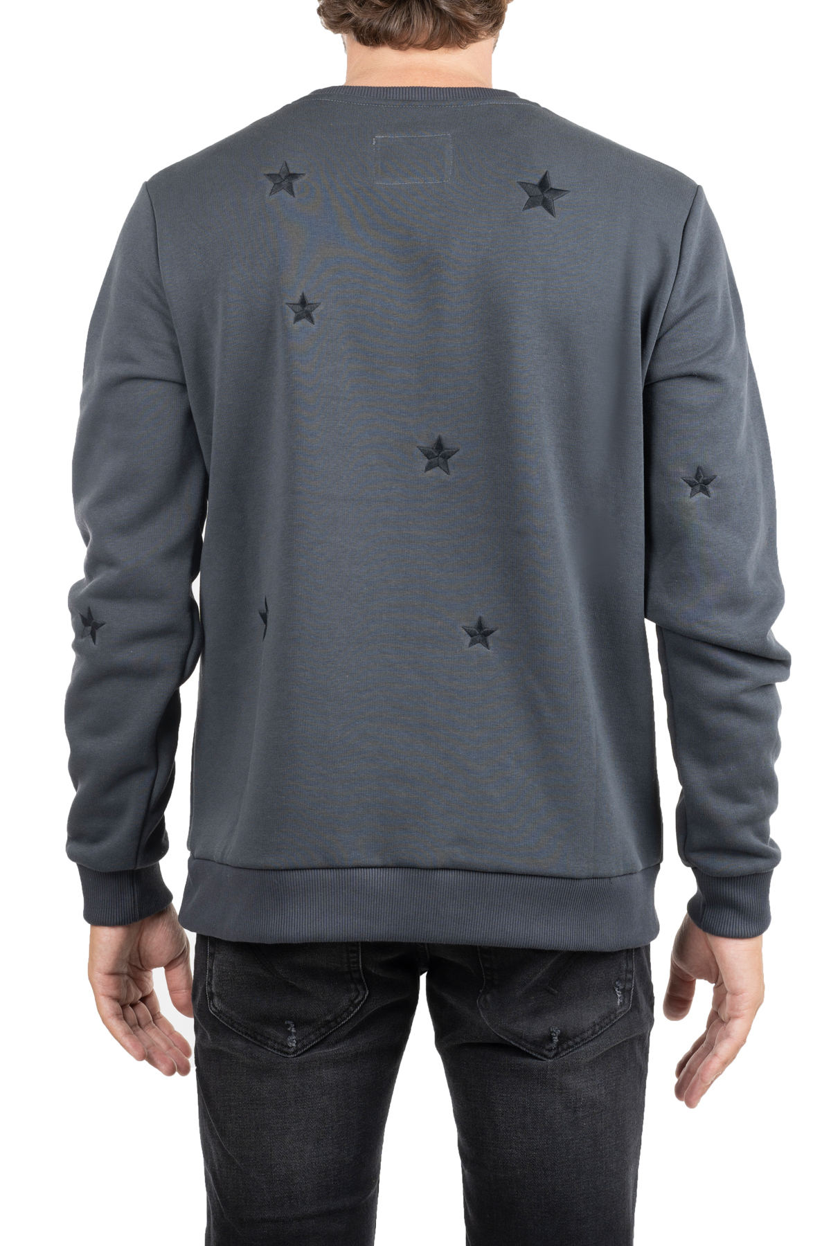 GRAY COTTON SWEATSHIRT WITH FRONT BACK APPLICATIONS THE EDITOR | Sweatshirts | E706A38N6120089