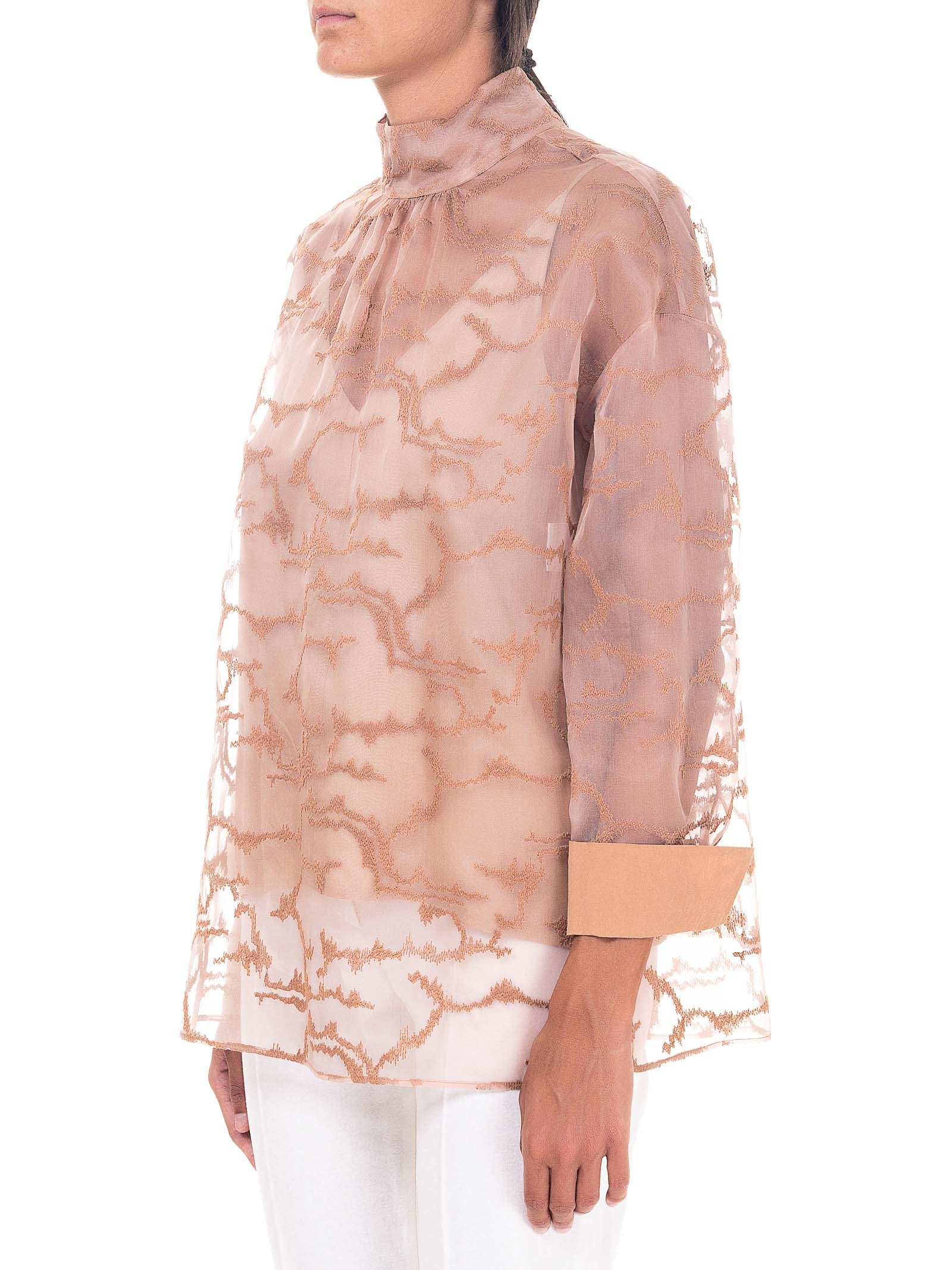 PINK BLOUSE WITH EMBROIDERED ORGANZA ALYSI | Shirts | 150260A0246BLUSH