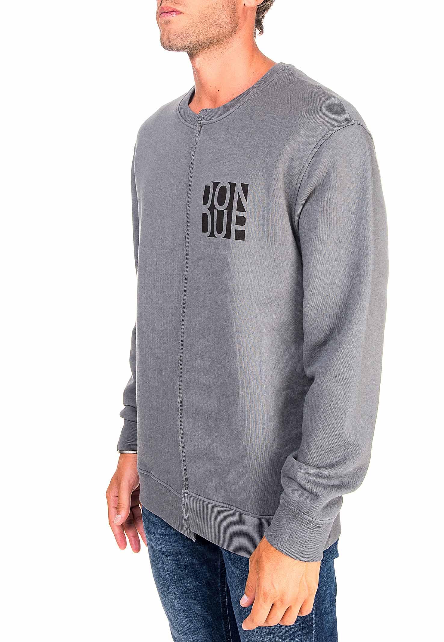 GRAY COTTON SWEATSHIRT WITH FRONT LOGO PRINT DONDUP   Sweatshirts   UF631KF0151PTDDUW20908