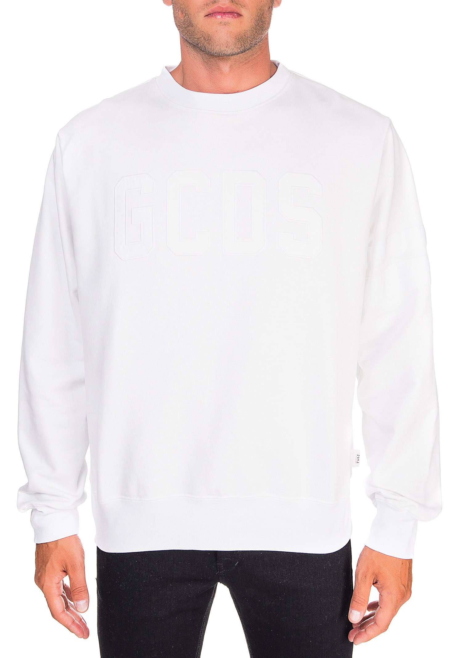 WHITE COTTON SWEATSHIRT WITH FRONT LOGO GCDS | Sweatshirts | CC94M021003BIANCO
