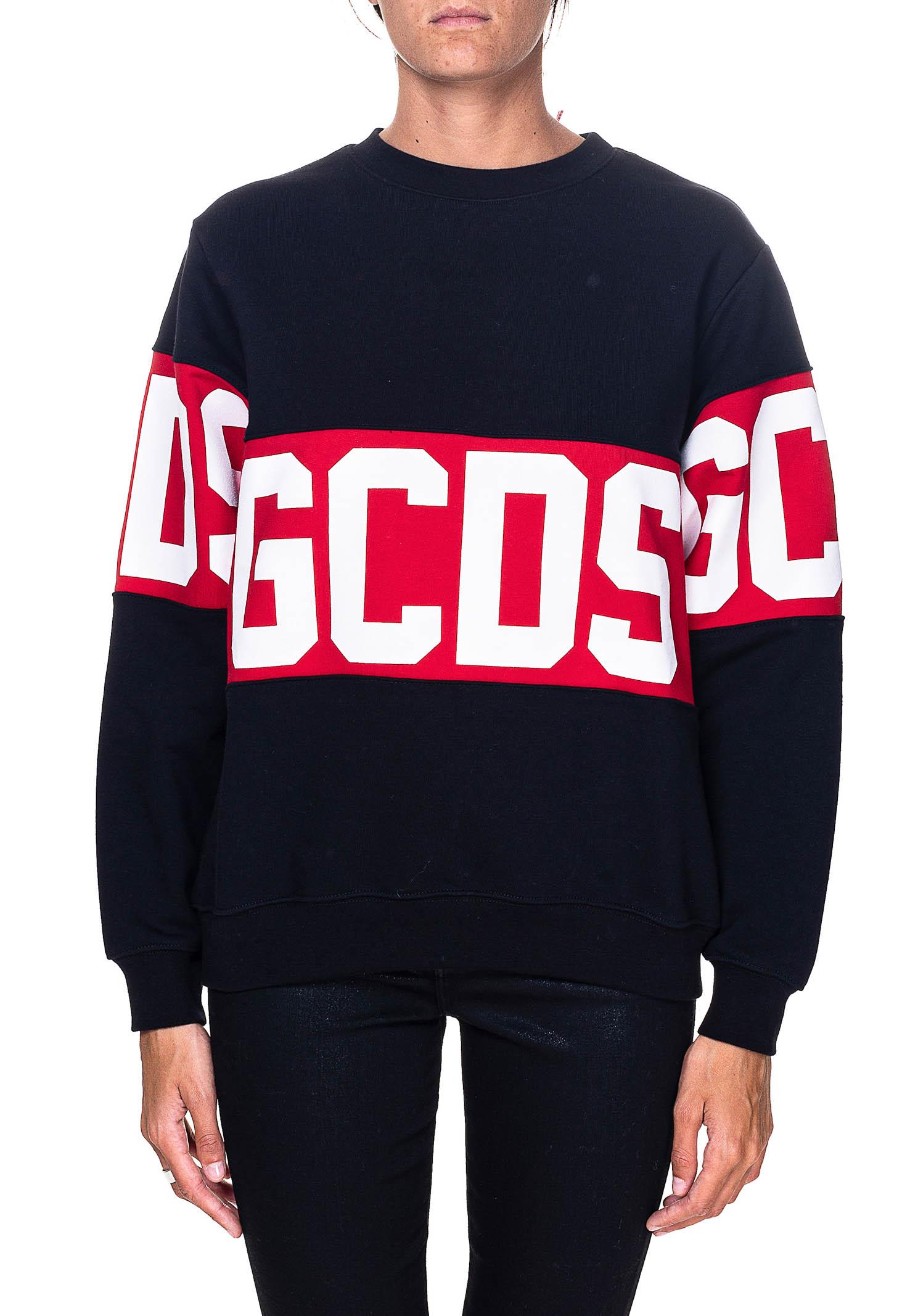 BLACK SWEATSHIRT IN COTTON WITH LOGO PRINT GCDS   Sweatshirts   CC94W021056NERO