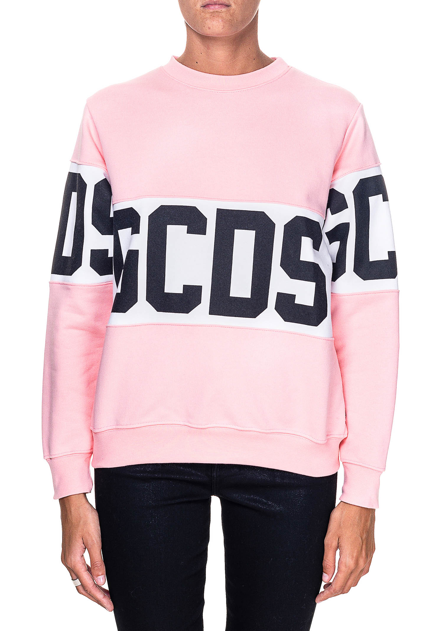 PINK SWEATSHIRT IN COTTON WITH LOGO PRINT GCDS | Sweatshirts | CC94W021056ROSA