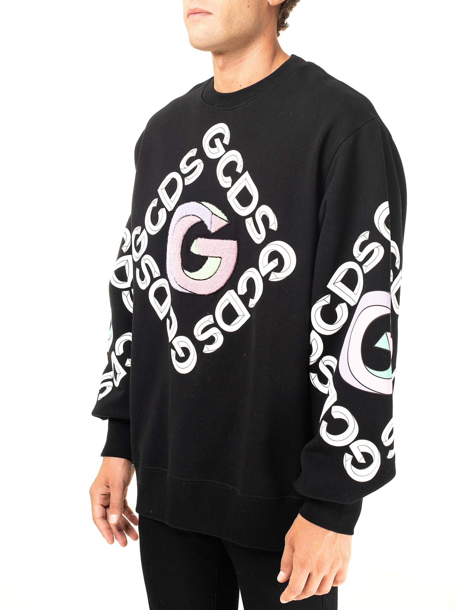 BLACK COTTON SWEATSHIRT WITH 3D CREW NECK GCDS | Sweatshirts | FW21M020055NERO