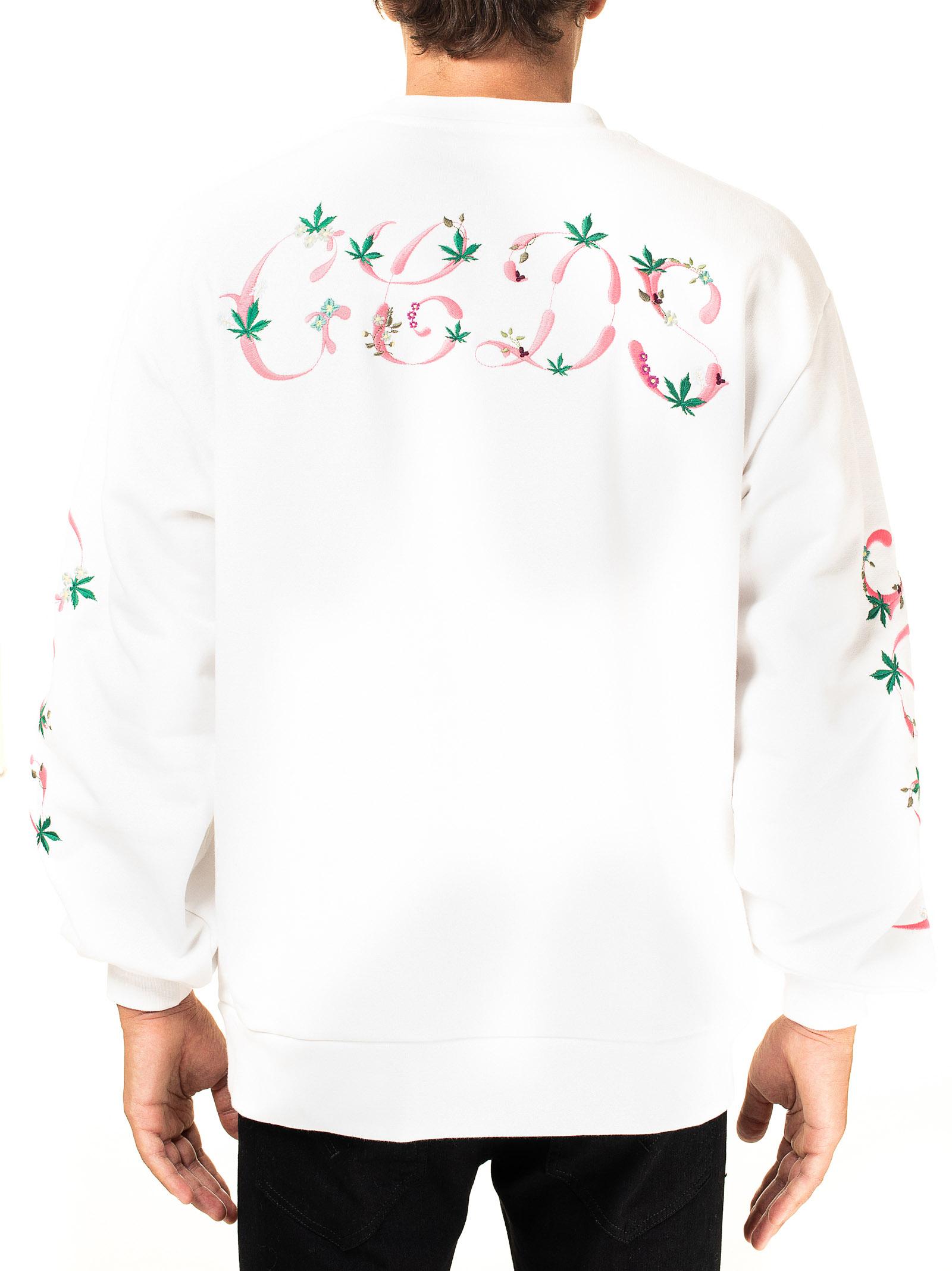 WHITE COTTON SWEATSHIRT WITH GIULYCOUTURE SCOOP NECK GCDS | Sweatshirts | FW21M020104BIANCO