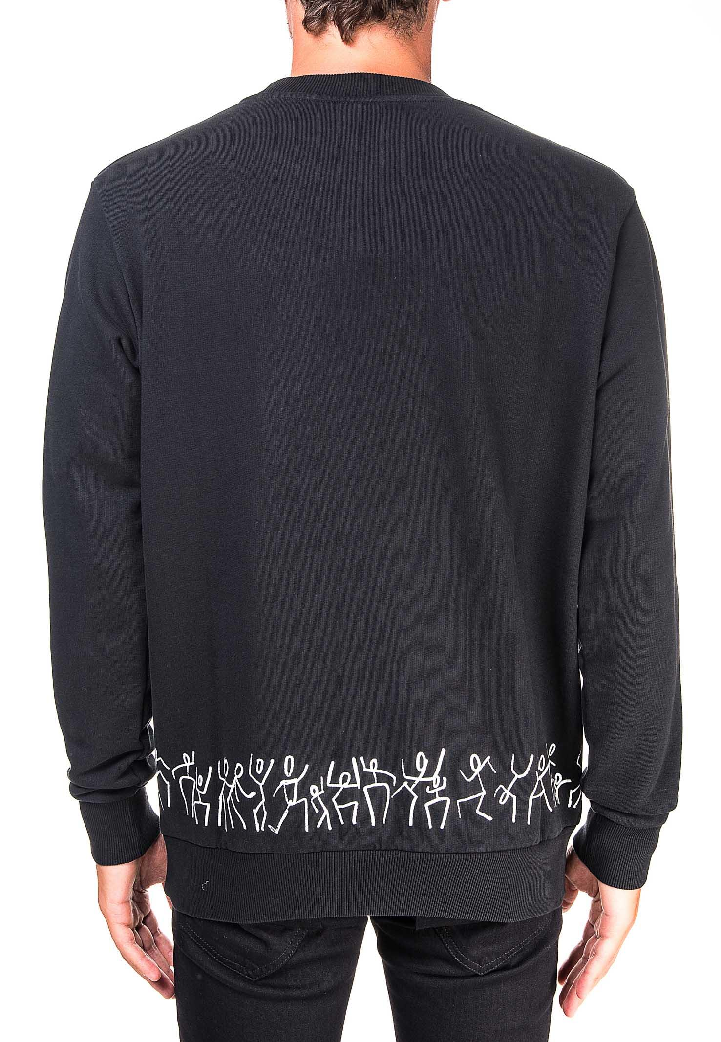 BLACK COTTON SWEATSHIRT TRIBE REGULAR CREWNECK MODEL MARCELO BURLON | Sweatshirts | CMBA009E20FLE0061001