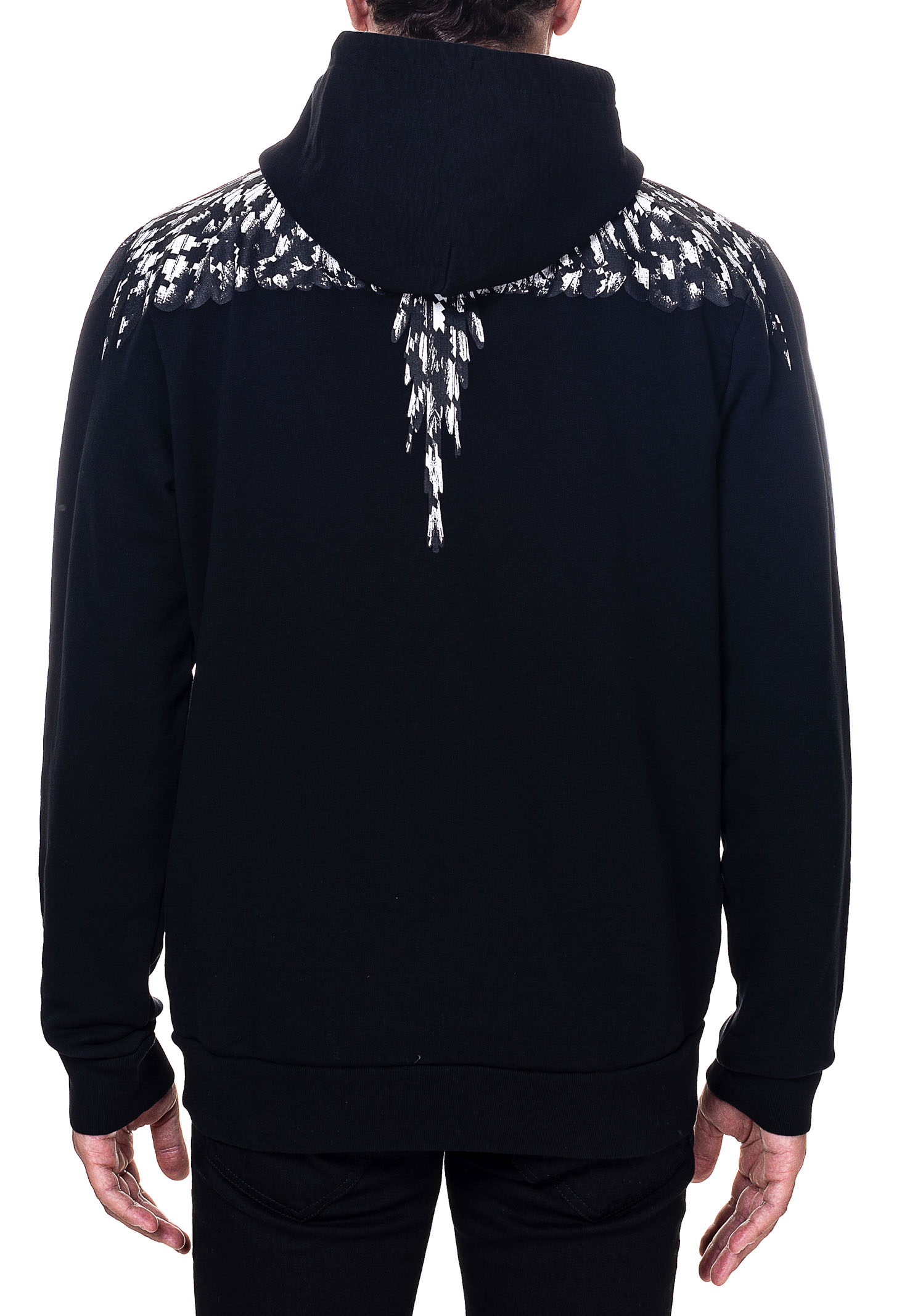 BLACK COTTON SWEATSHIRT WITH CROSS PDP WINGS PRINT MARCELO BURLON | Sweatshirts | CMBB007F20FLE0031010
