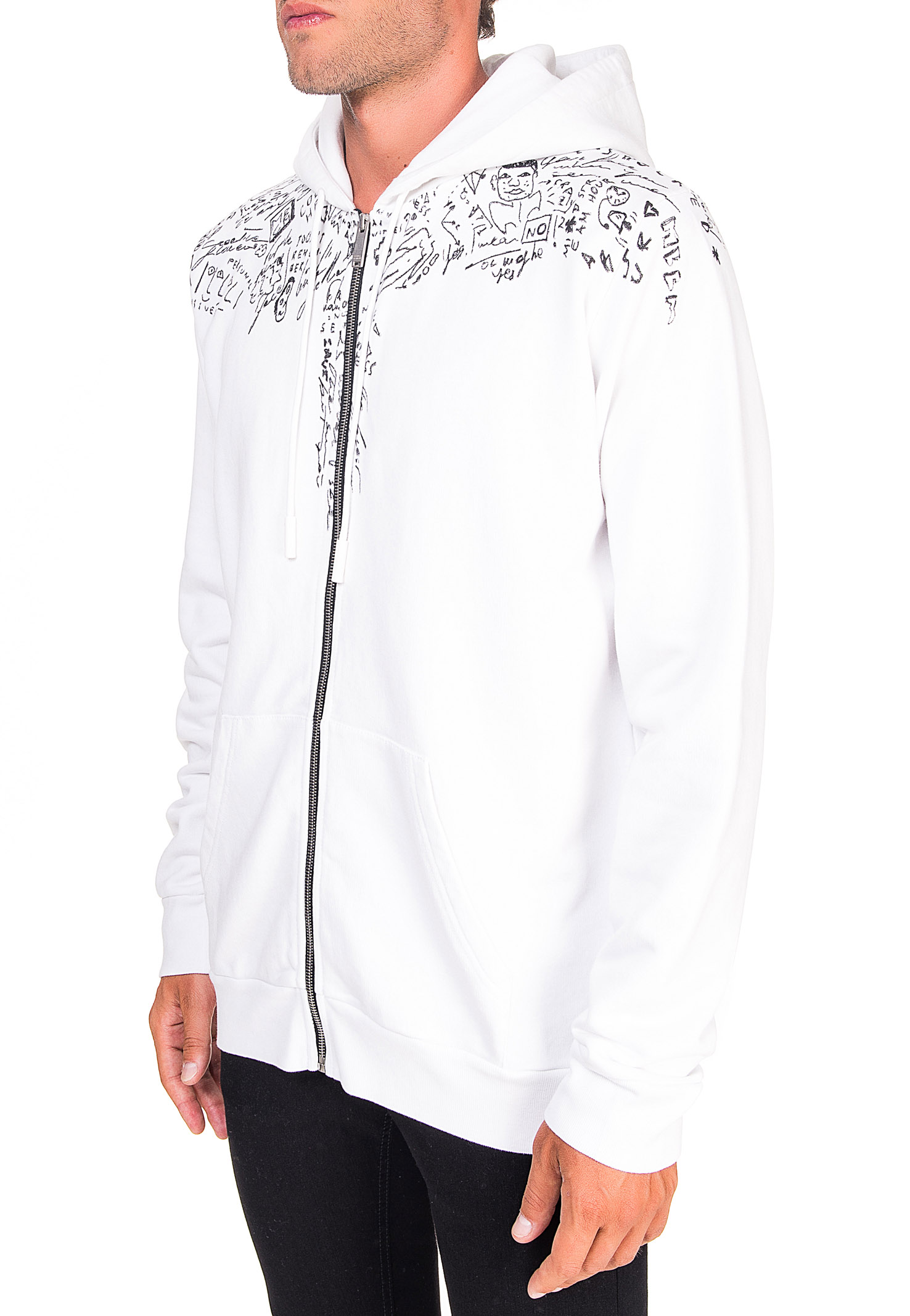 WHITE COTTON SWEATSHIRT WITH SKETCHES WINGS PRINT MARCELO BURLON | Sweatshirts | CMBE001E20FLE0040110