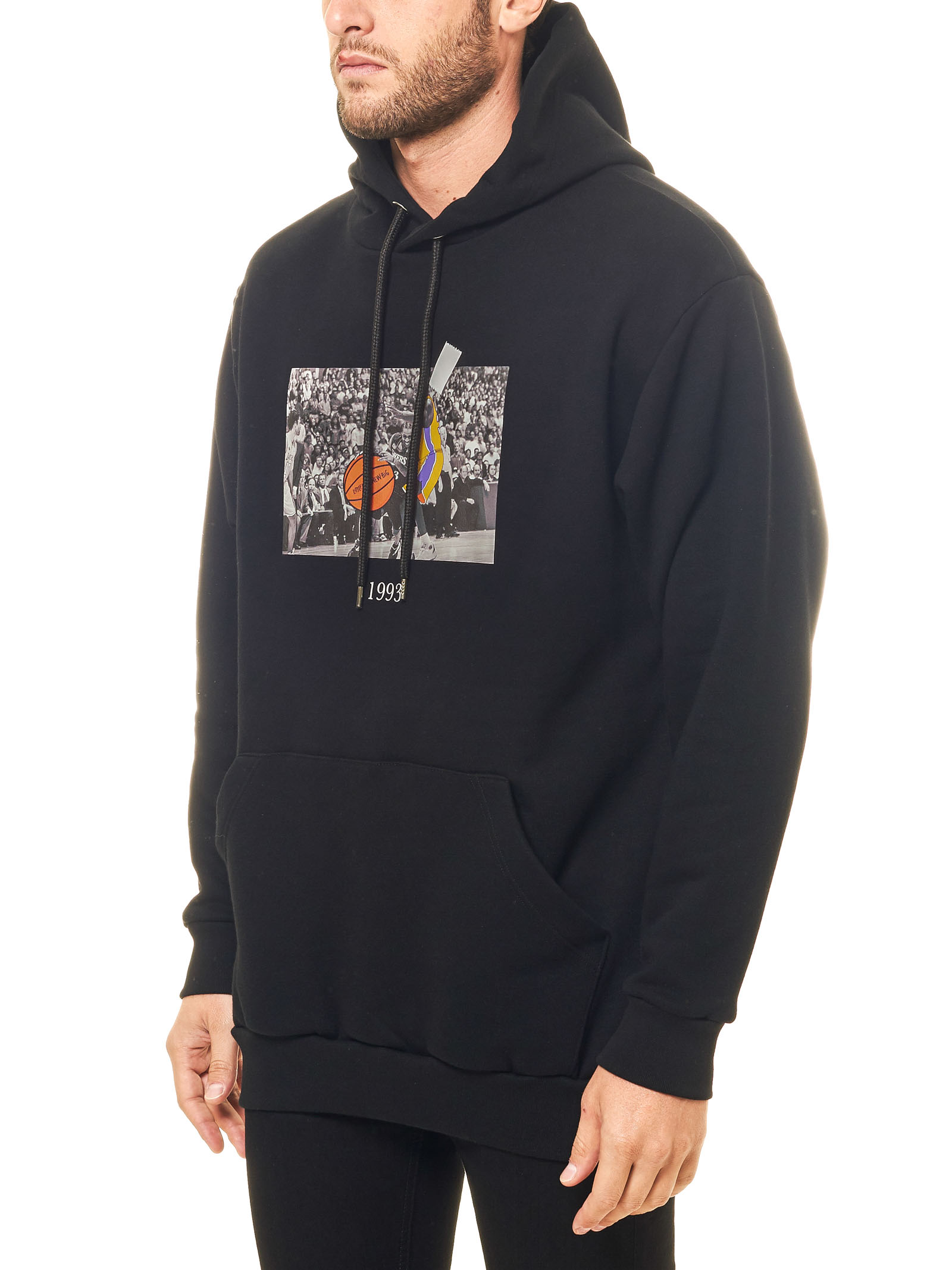 BLACK COTTON SWEATSHIRT WITH FRONT PRINT ALLEN MODEL THROWBACK   Sweatshirts   TBSALLENNERO