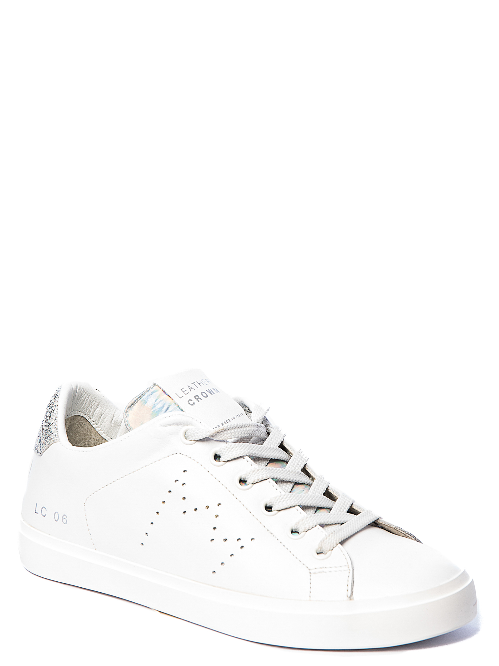 WHITE LEATHER SNEAKERS WITH PERFORATED