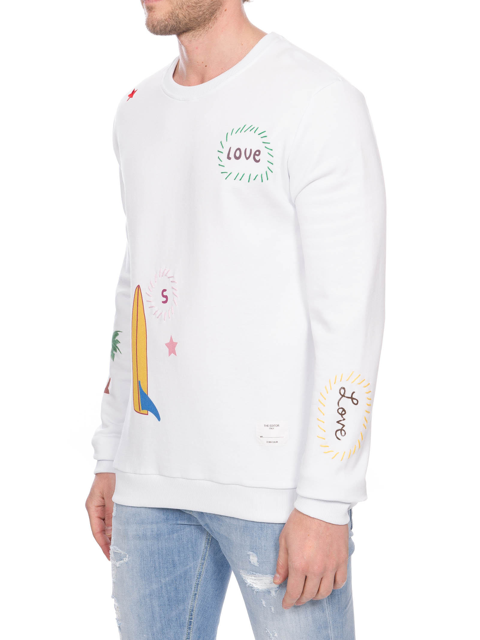 WHITE COTTON SWEATSHIRT WITH PRINT AND EMBROIDERY THE EDITOR | Sweatshirts | E806A38N11120001