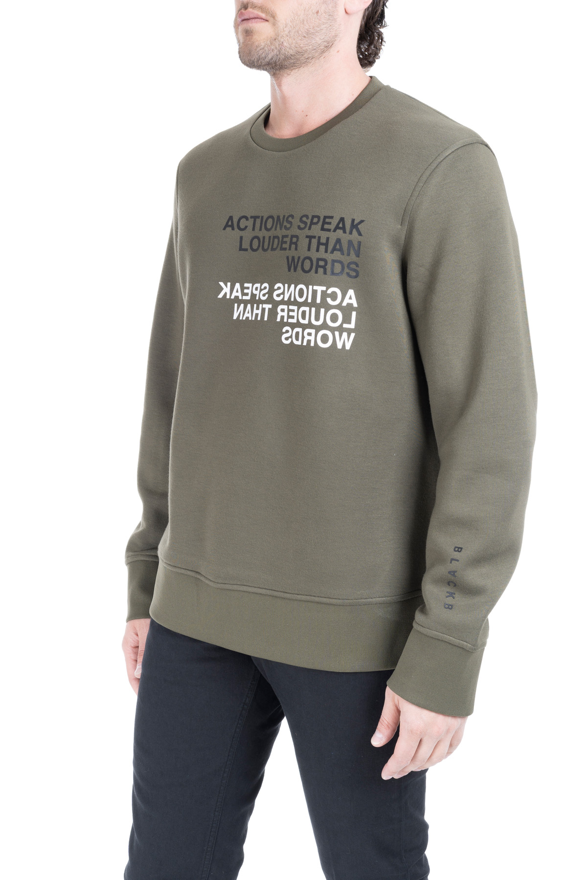 GREEN RAYON SWEATSHIRT WITH FRONT LETTERING BLACKBARRETT | Sweatshirts | XJS824VERDE