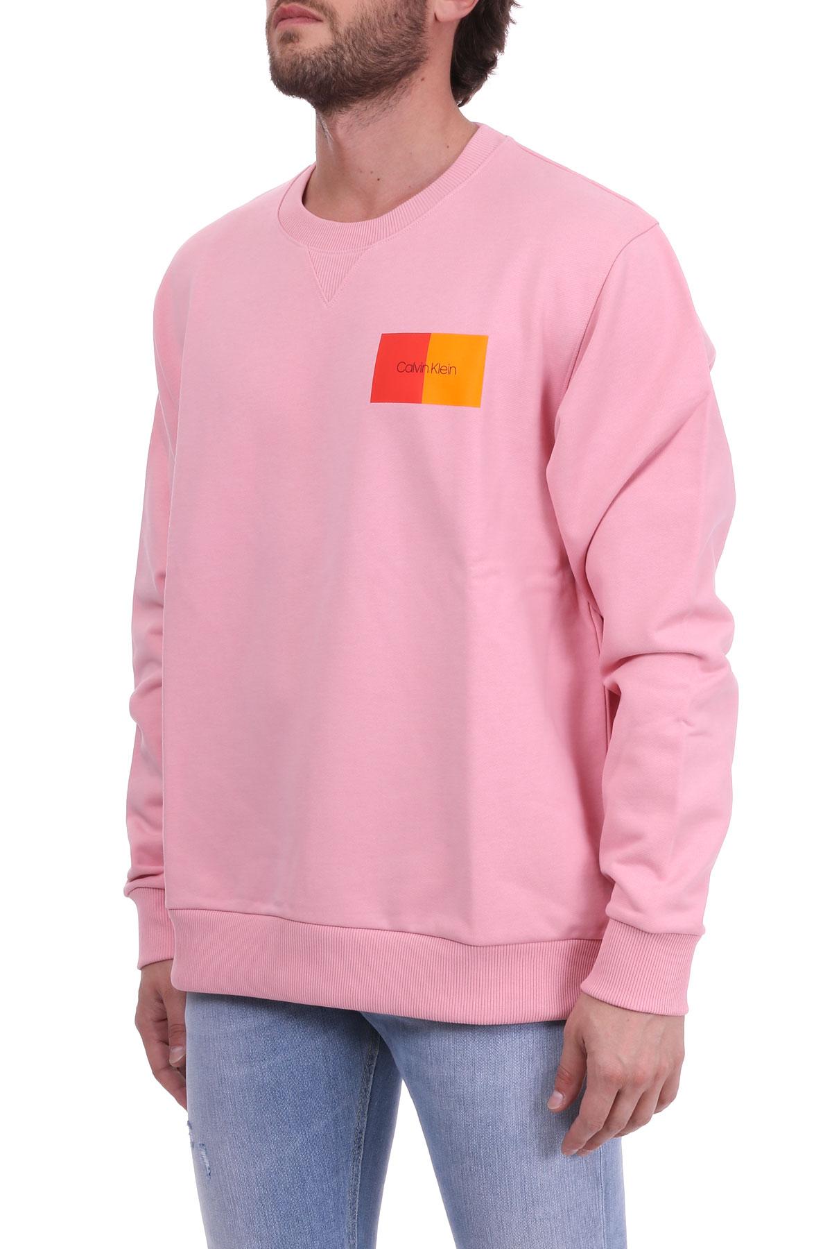 PINK COTTON SWEATSHIRT WITH BICOLOR LOGO CALVIN KLEIN | Sweatshirts | K10K102974665ROSA