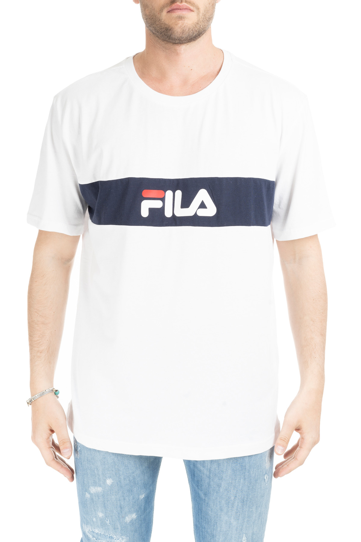 75bc8a7843 WHITE T-SHIRT WITH CONTRAST BAND AND LOGO