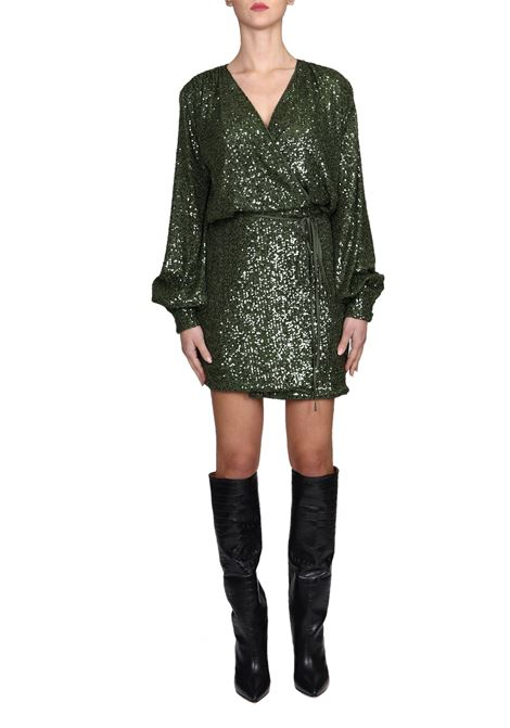 GREEN DRESS CLOSURE ON WALLET AND SEQUINS ALL OVER ACTUALEE | Dress | AB364220F/3144VERDE