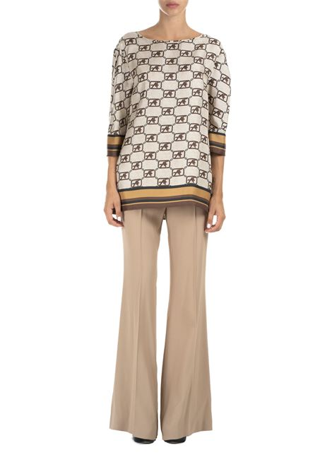 SILK TWILL BLOUSE WITH LOGO PRINT ALBERTA FERRETTI | Blouse | 021866461081