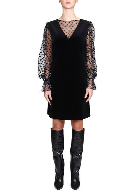 BLACK SILK DRESS WITH TRANSPARENT DETAILS ALBERTA FERRETTI | Dress | 04535141555