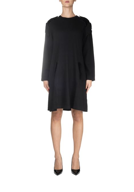 BLACK COTTON DRESS WITH SHAPES ALBERTA FERRETTI | Dress | 04965100555