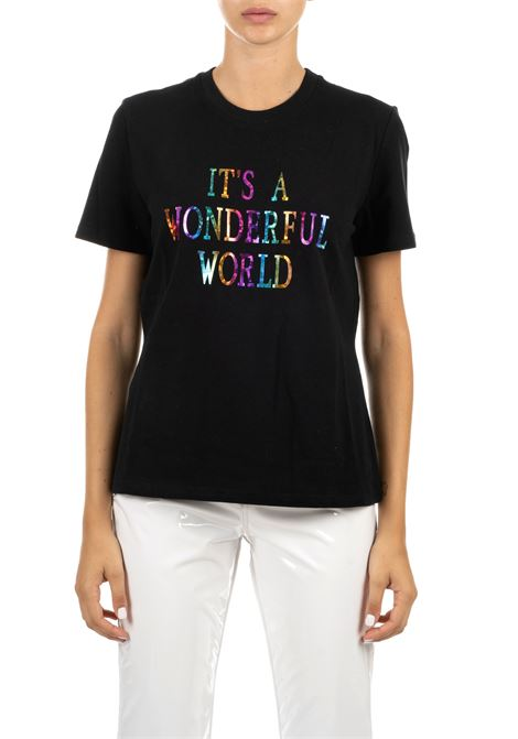 BLACK T-SHIRT WITH FRONT PRINT ALBERTA FERRETTI   T-shirt   07066661555