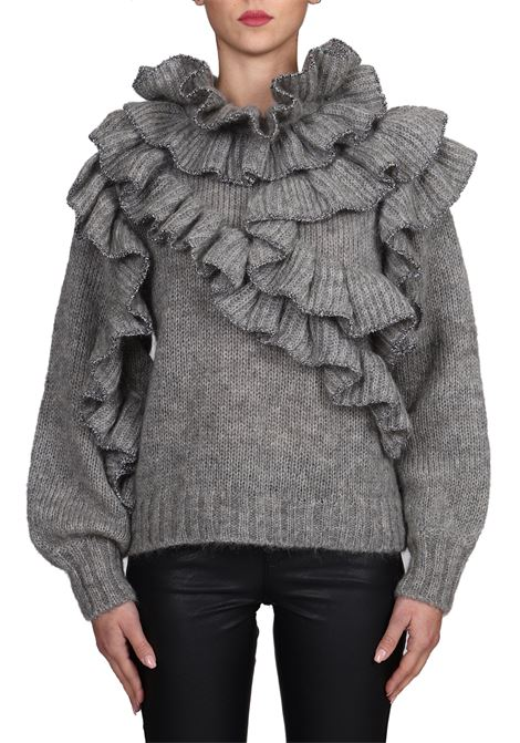 GRAY SWEATER WITH ALL OVER MOHAIR RUCHES ALBERTA FERRETTI | Sweaters | 094651064487