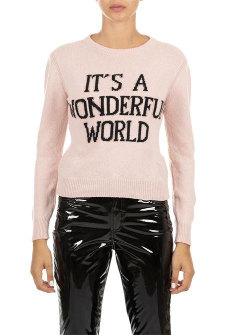PINK CASHMERE JERSEY WITH LOGO ALBERTA FERRETTI | Sweaters | 094866081169