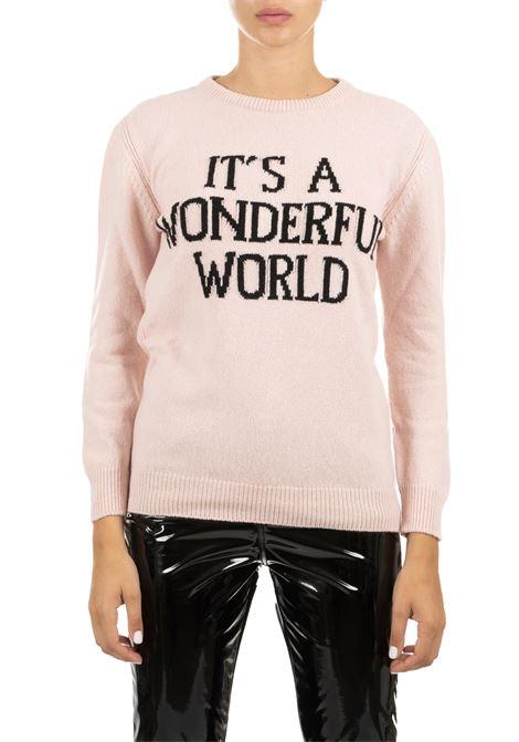 PINK CASHMERE JERSEY WITH LOGO ALBERTA FERRETTI | Sweaters | 095166081169
