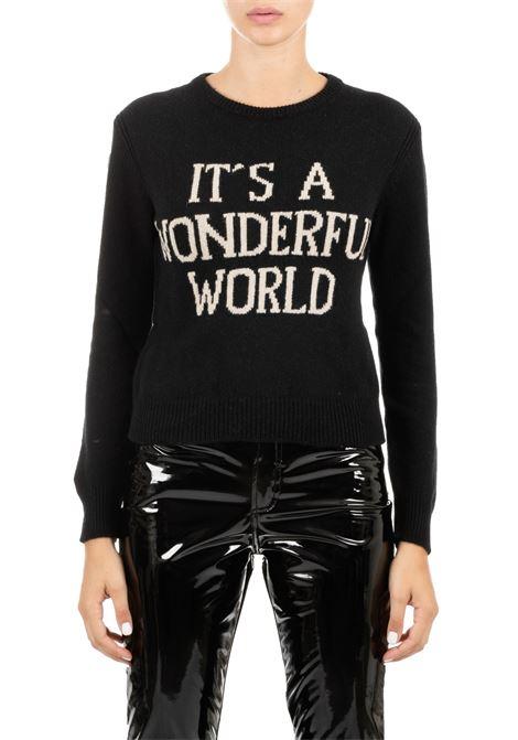 BLACK CASHMERE JERSEY WITH LOGO ALBERTA FERRETTI | Sweaters | 095166081555