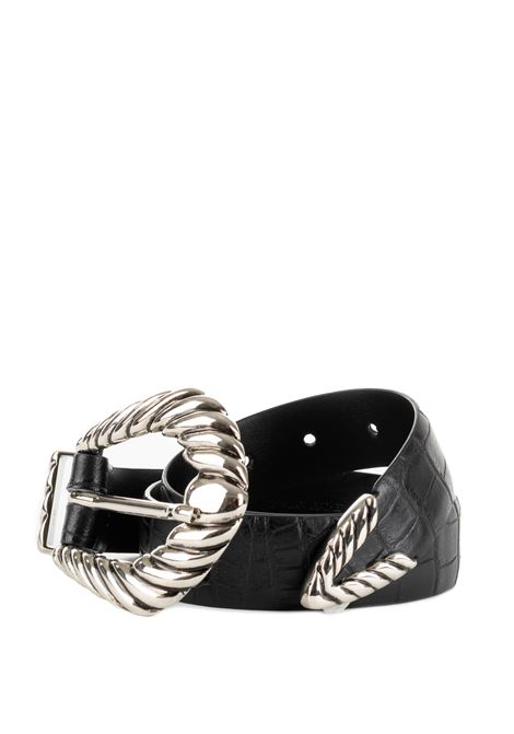 BLACK SMOOTH LEATHER BELT WITH BUCKLE ALBERTA FERRETTI | Belts | 300351951555