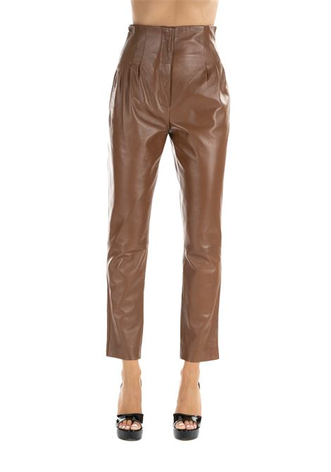 HIGH-LIFE PANTS WITH LEATHER PINCES ALBERTA FERRETTI | Pants | 3706668297