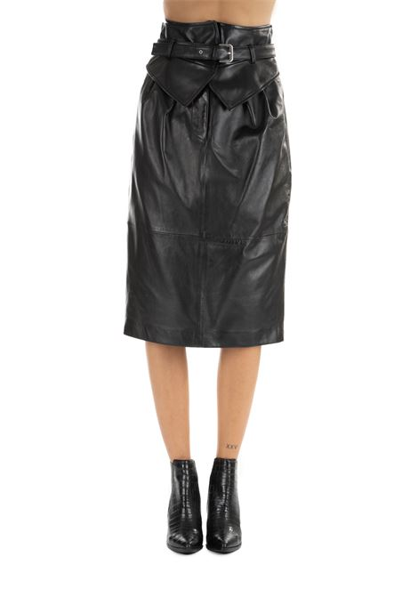 BLACK LEATHER SKIRT ALBERTA FERRETTI | Skirts | 37106682555