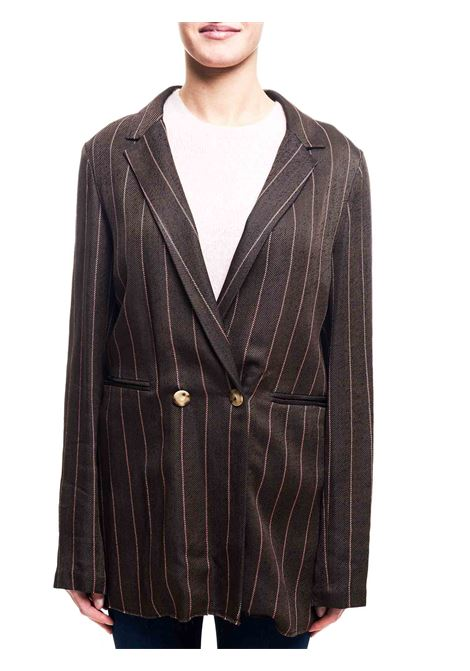 DARK STRIPES TWILL DOUBLE-BREASTED JACKET ALYSI |  | 159809A9029MORO