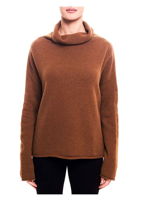BROWN WOOL BLEND SWEATER WITH HIGH NECK ALYSI | Sweaters | 259467A9223CG