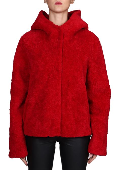 RED FUR WITH WOOLEN MIXED HOOD BETTA CORRADI | Fur coat | B356SHER008