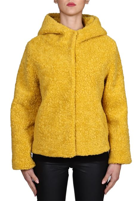 YELLOW FUR WITH WOOLEN MIXED HOOD BETTA CORRADI | Fur coat | B356SHER023