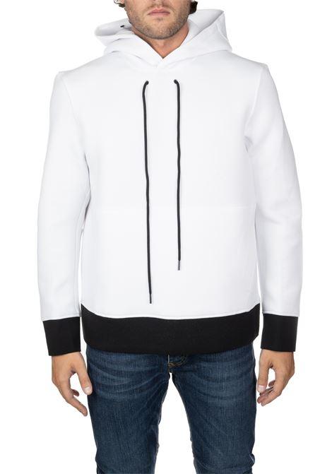 WHITE SWEATSHIRT WITH SLEEVE LOGO APPLICATION BLACKBARRETT | Sweatshirts | PXJS873526