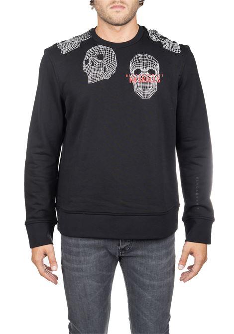BLACK COTTON SWEATSHIRT WITH SKULL FRONT LOGO PRINT BLACKBARRETT | Sweatshirts | PXJS9051133